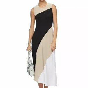 REED Krakoff Black & Tan Asymmetrical Maxi Dress